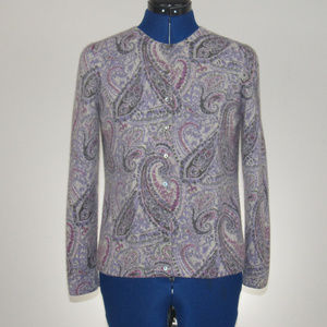 Paisley Cashmere Cardigan Sweater Size Medium